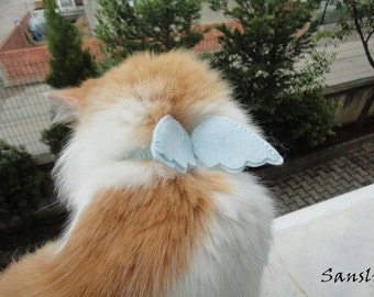 Cat collar-adjustable collar-custom collar-crochet cat collar-cat accessories-angel.Adjustable cat collar blue with Bell
