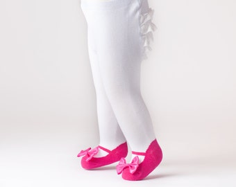 Ruffle Bum Baby tights with Mary Jane Bow Shoes leggings- Fuchsia