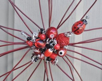Simply ADORNable, ladybug unique red wire flower with embellishments