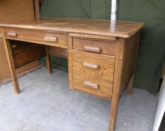 vintage oak 1930s era single desk three drawer, in oak, wood good condition, Free uk postage