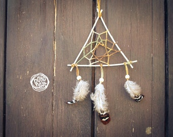 Dream Catcher - Triangle of Nature - With Natural Feathers and Wooden Frame - Home Decor, Mobile