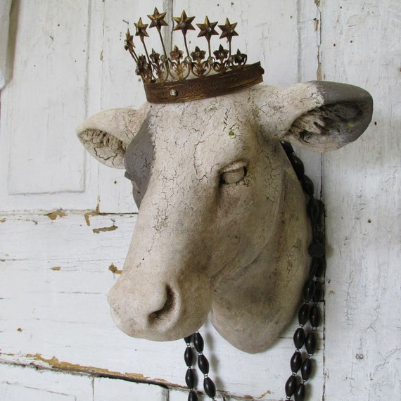 Cow Head Wall Mount Painted White Putty Rustic By