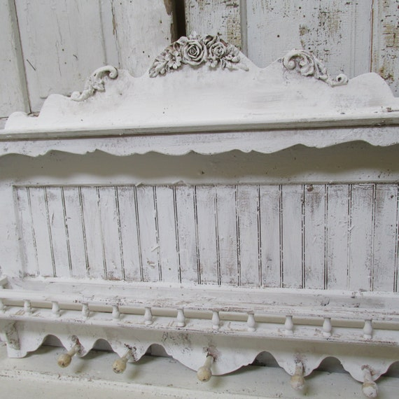 Large Distressed Wall Decor : Large distressed white wall shelf shabby cottage chic ornate