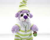 GNOME Baby Bear  - Artist Teddy Bear  /  Lavender Bear / Hand Knitted and Felted Bear /  GNOME kids toy / lavender green / OOAK
