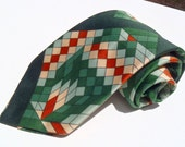 Vintage 1970s Wide Green and Brown Groovy Geometric Polyester Tie by Beau Brummell