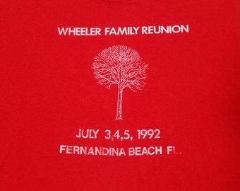 Vintage 1990s Red Wheeler Family Reunion July 1992 T-Shirt L Hanes