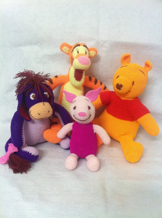 Winnie The Pooh And Friends Amigurumi : Items similar to Winnie the Pooh, Eeyore, Tigger and ...