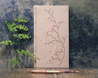 Blooming Branch. Floral Notebook. Embroidered Romantic Journal. Nature Notebook. Spring Floral Journal. Poetry Journal. Botanical Journal.