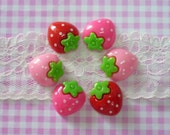 6 pcs Strawberry Cabochons, Assorted Kawaii Srawberries Cabochons,Decoden Cabochons