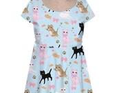 Kawaii Cat Dress Fairy Kei Dress Kitten Cat Cap Sleeve Dress Cat Pattern Size XS Through 3XL *Made 2 Order*