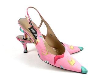 Vintage 90s Van Eli Pink Fashion Accessory Slingback Kitten Heels Pumps 8.5 9 M