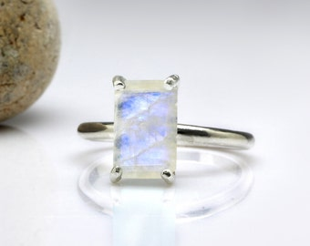 SUMMER SALE - Rainbow Moonstone ring,stackable ring,silver ring,stack ring,rectangle stone ring,gemstone ring,bridal ring,stacking ring