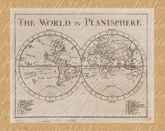 Planisphere From 1600s 328 Earth Planet Old Map of the World Exploring  Sailing Vintage Digital Image Clipart Travel International Continent