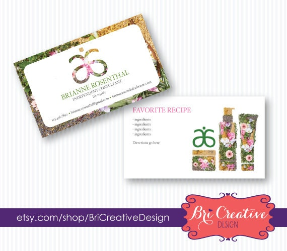 Arbonne Business Card Design with Recipe