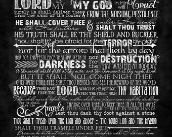 Scripture Art - Psalm 91:1-16 ~ Chalkboard Style