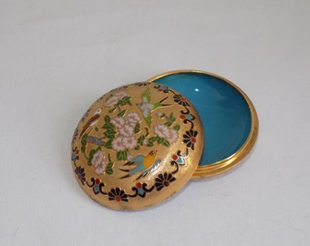 Vintage Enamel and Brass Cloisonne Round Trinket Dish Keepsake Jewelry Box Storage - Asian Oriental Dresser Vanity Chinese Decor