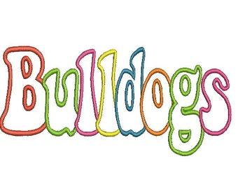 Bulldogs Applique Embroidery Design (44) Instant Download