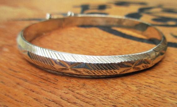 Sterling Silver  Bracelet - Hinge Bangle -  etched floral design - safety chain