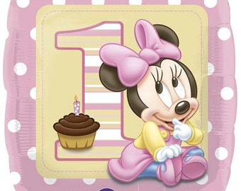 Disney Minnie Mouse First Birthday Party Balloon  1st