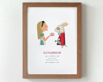 Illustration. Alice in Wonderland Print Wall art Art decor Hanging wall Printed art Decor home Gift idea Bedroom Lewis Carrol's book