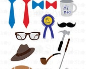 New Store!!! FATHER'S Day CLIPART .Eps .Png Hat, Ties, Bow Ties, Mug, Glasses, Hammer, Pipe, Golf Club, Football, Mustache