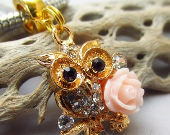Owl And Rose Clip On European Charm -  Gold Plated Large Hole Rhinestone Pendant For European Charm Bracelets And Necklaces