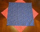 Table topper Red white and blue with stars or basket liner