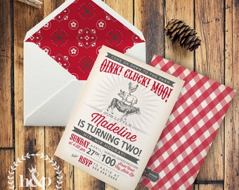 Vintage Farm Birthday Party Invitation