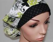 Bouffant Women's Scrub Hat, Glamour Girl Butterflies with a Black Band