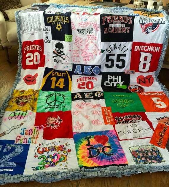Custom, Handmade, Large T-Shirt Blanket with Ragged Edges