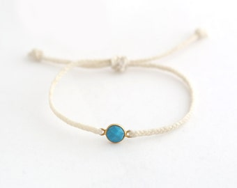 Waxed Cord Bracelet with Turquoise and Gold Stone