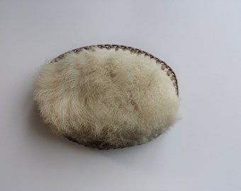 Vintage Rabbit Fur & Leather Belt Bucket