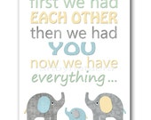 Playroom Decor Nursery Quotes First We Had Each Other Baby Boy Nursery Art Print Kids Room Decor Childrens Art Print Blue Gray Yellow