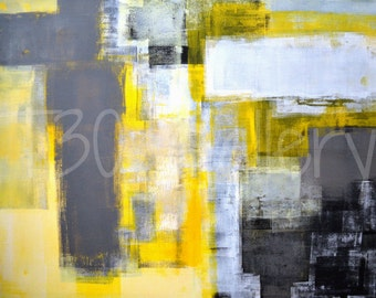 Digital Download - Busy, Busy - Grey and Yellow Abstract Artwork