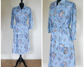 Vintage Skirt and Blouse Set Blue Flowers Polyester 1970s Matching Two Piece Set