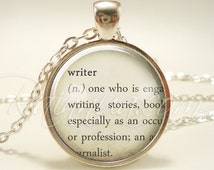 Writers Necklace, Word Jewelry, Author Dictionary Definition Pendant (1979S1IN)