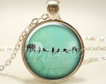 Birds On A Wire Necklace, Cute Blue Bird Pendant, Nature Jewelry (1820S1IN)