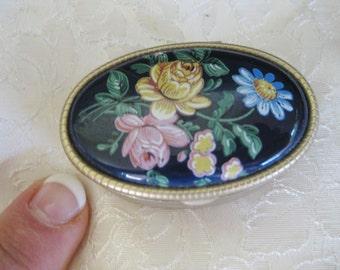 Blue Floral Enamel Pillbox ring box brass enamel Very good circa 1950s