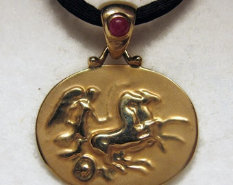 Vintage 14k Yellow Gold CAMEO with REPOUSSE Relief and RUBY Cabochon on Satin Cord with 14k Gold Tips