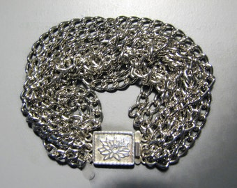 Mindy Gang Sterling 925 and Stainless Steel LOTUS FLOWER Multi Chain Bracelet