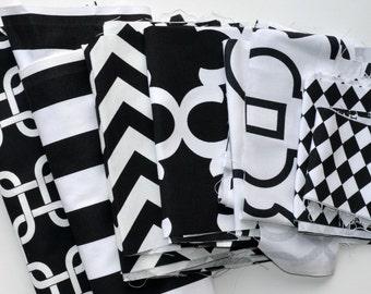 Fabric Scraps Bundle - Black White, Gotcha Canopy Zig Zag Fynn Bordeaux Diamond Premier Prints Home Decor REMNANTS