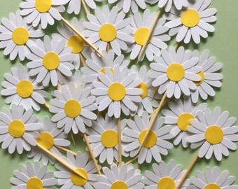25 Pieces - White Daisy Party Picks, Cupcake Toppers, Birthday Party, Wedding, Bridal Showers
