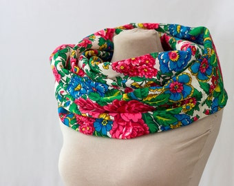 Russian shawl, Russian scarf, white with blue, pink and green, folk art, unique scarf, floral infinity scarf, designer scarf, botanical, 133