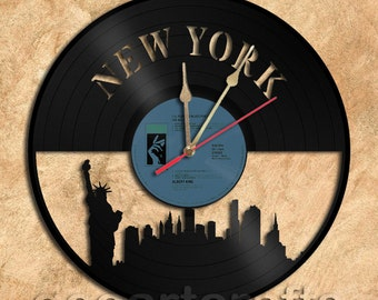 Wall Clock New York Vinyl Record Clock Upcycled Gift Idea