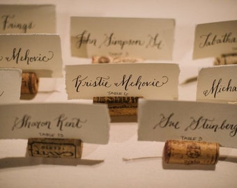 Rustic Calligraphy Hand Torn Place Cards