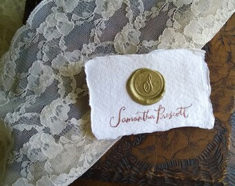Gold Wax Seal Name Cards on Handmade paper