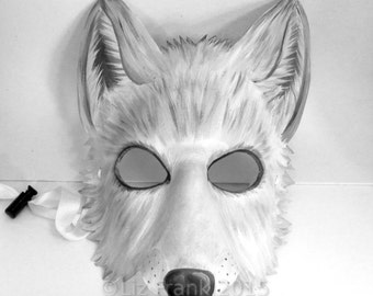 Arctic White Wolf Mask handmade from Leather, LARP Garb, Theater Costume, Rave Gear, Cosplay, Animal mask, Halloween