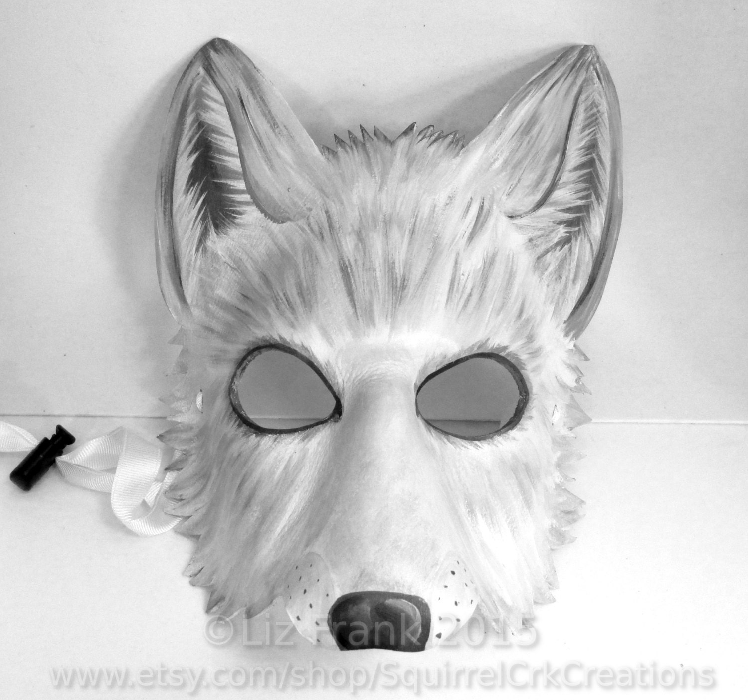 Arctic White Wolf Mask Leather Fursona Animal costume LARP