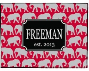 Personalized Crimson Elephants Door Mat Monogrammed Doormat Welcome Mat Floor Rug Indoor Outdoor