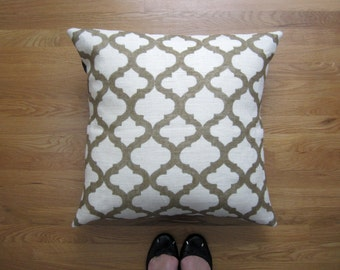 Gold Floor Pillow Cover, Moroccan 24x24 Decorative Pillow Cover, Arabesque Hand-Painted Burlap